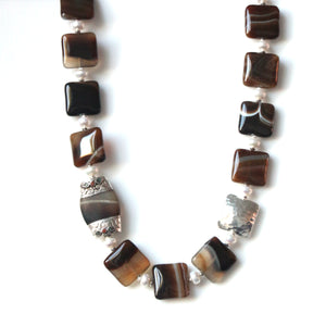 Australian Handmade Brown Necklace with Agate Pearls Sterling Silver and Afghani Bead