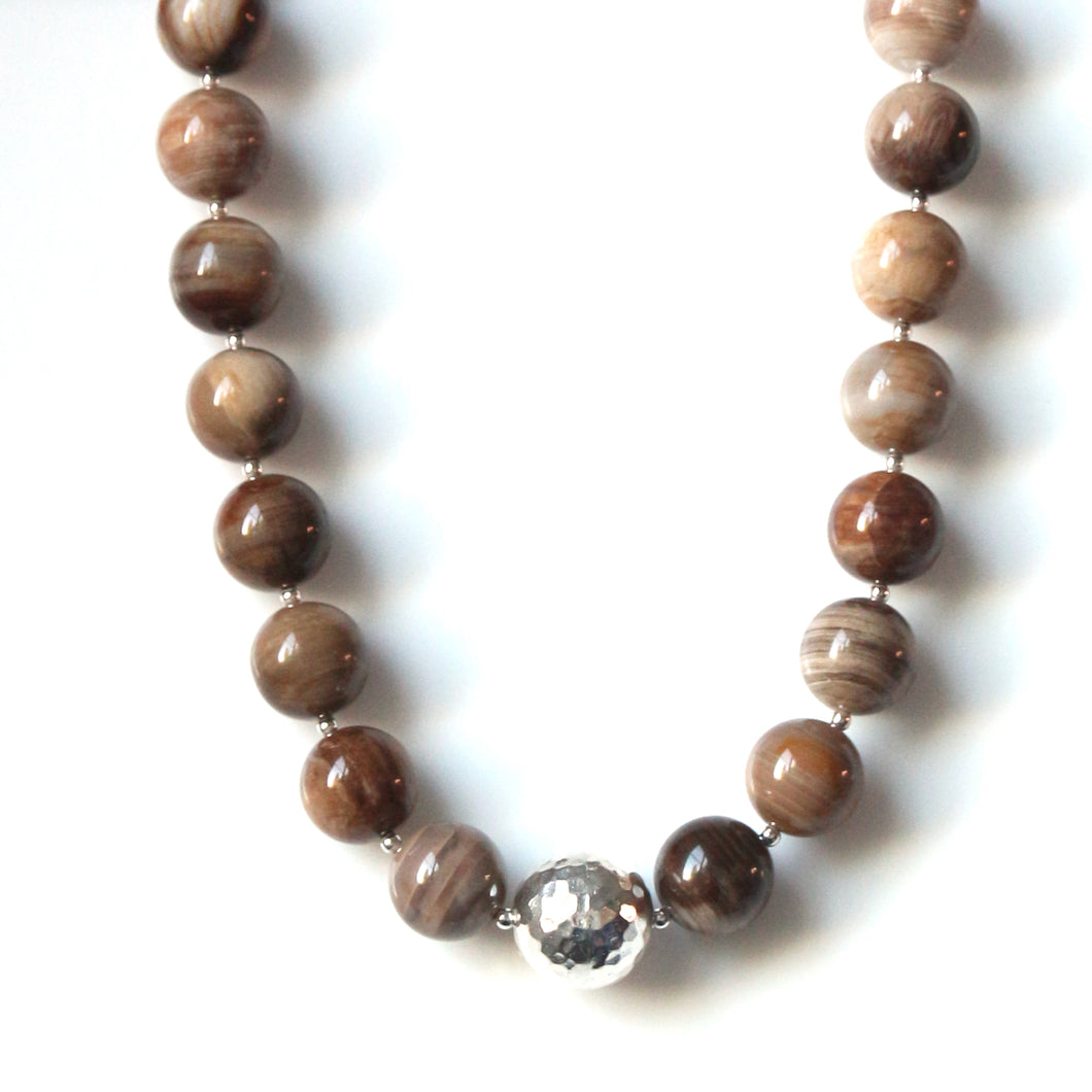 Australian Handmade Brown Necklace with Wood Opalite and feature Sterling Silver Centrepiece