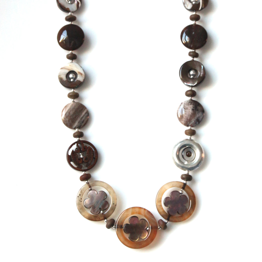 Australian Handmade Brown Necklace with Agate Mother of Pearl Jasper and Sterling Silver