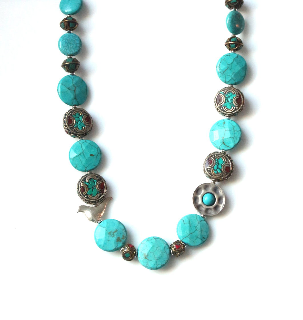 Australian Handmade Necklace with Howlite Nepalese Beads and Sterling Silver