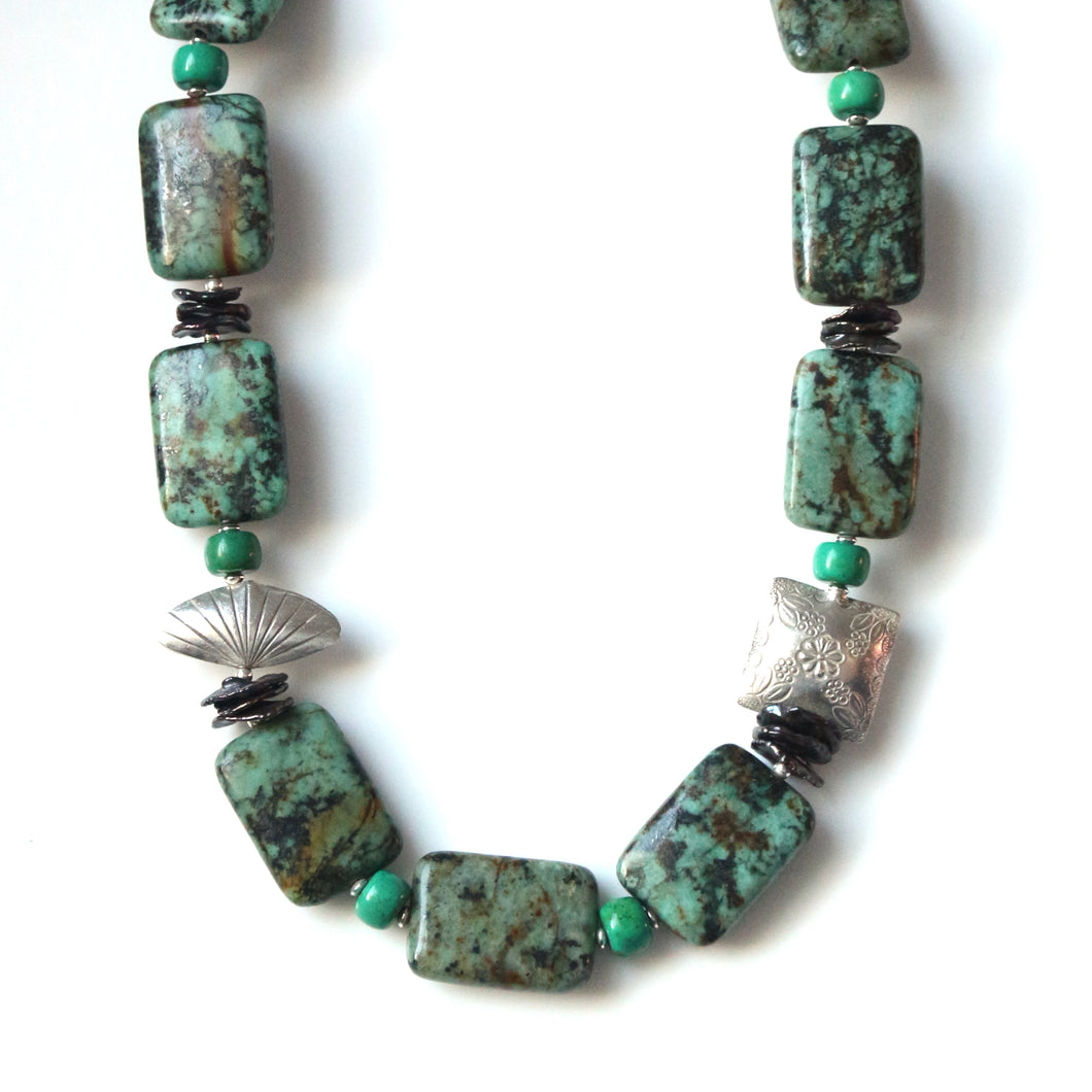 Australian Handmade Necklace with African Turquoise Howlite Keshi Pearls and Sterling Silver