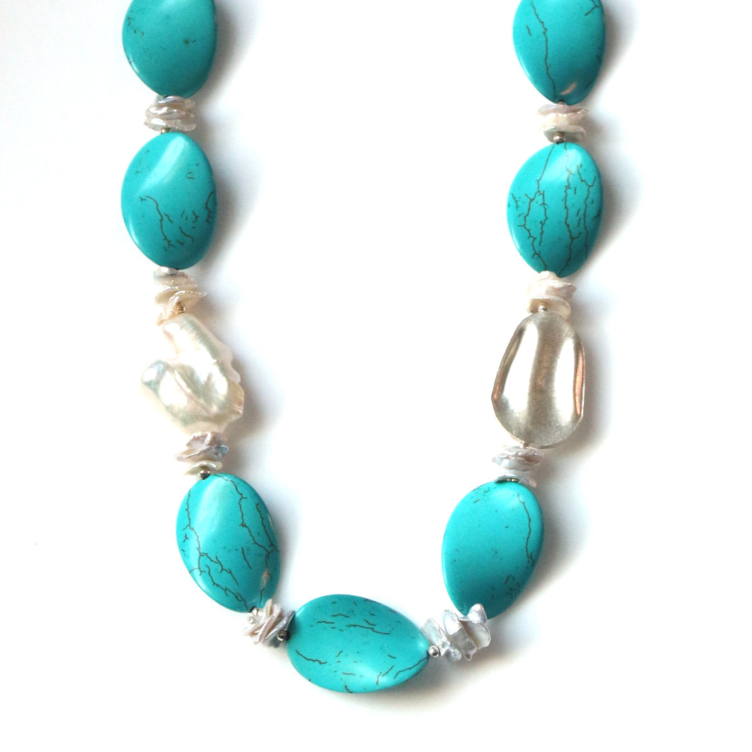 Australian Handmade Necklace with Howlite Baroque Pearl Keshi Pearls and Sterling Silver
