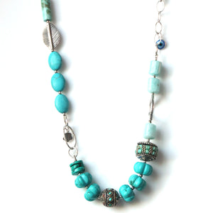 Australian Handmade Necklace with Amazonite Howlite Turquoise Nepalese Beads and Sterling Silver
