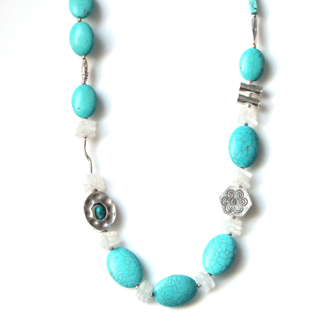 Australian Handmade Necklace with Howlite Matt Crystal Turquoise and Sterling Silver