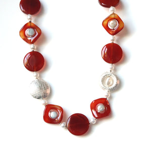Australian Handmade Orange Agate Button Pearls Pearls and Sterling Silver Necklace