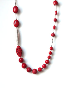 Australian Handmade Red Coral Cinnabar Howlite Sterling Silver Necklace