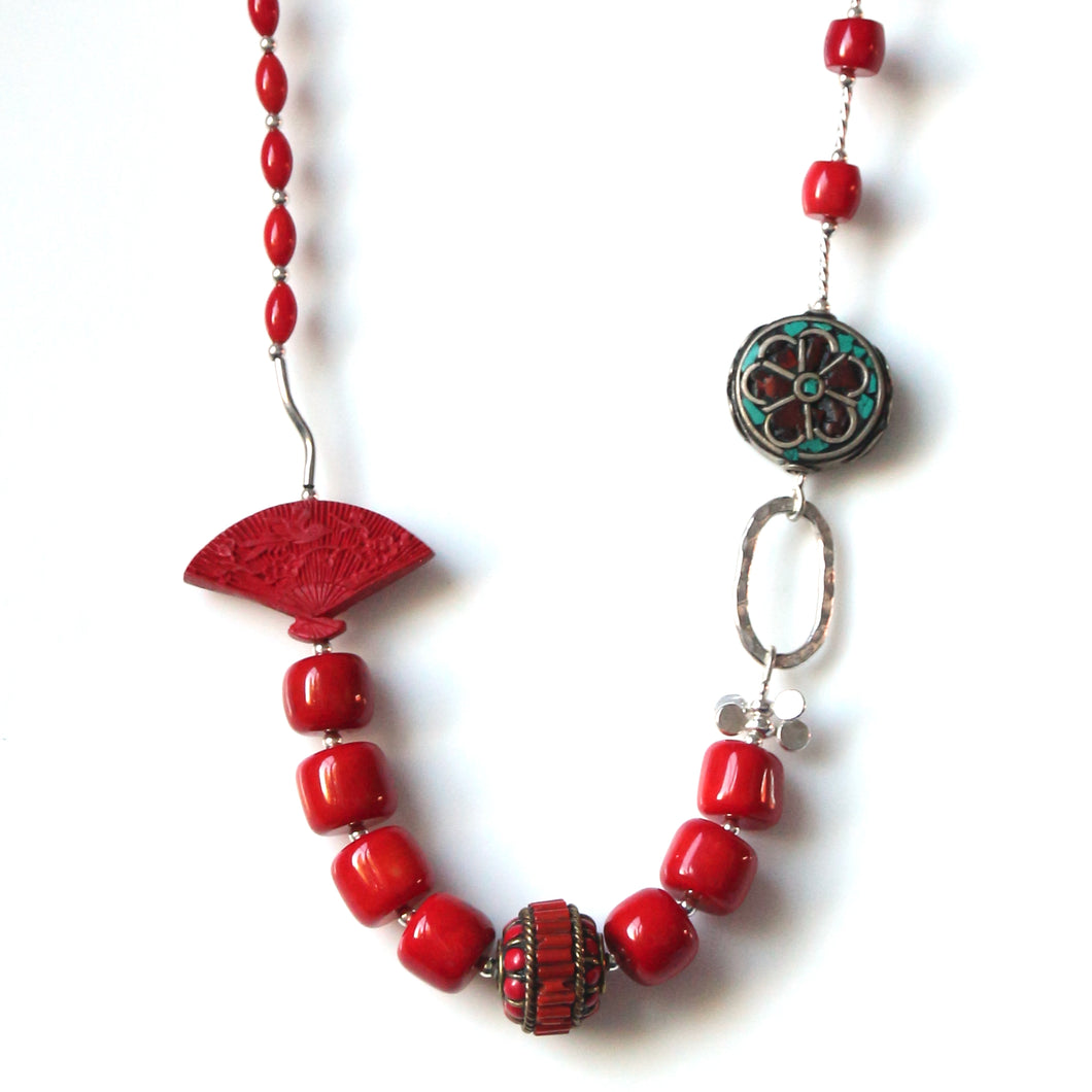 Australian Handmade Red Coral Bead Necklace Cinnabar Fan Nepalese Beads Sterling Silver