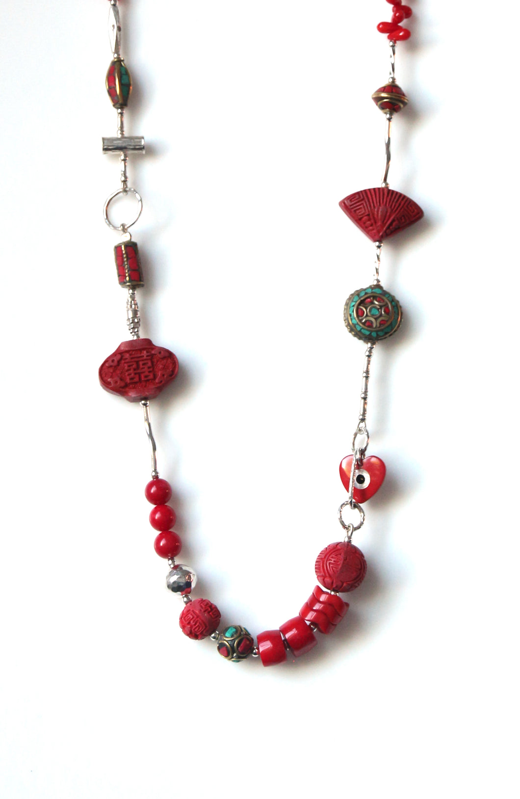 Australian Handmade Red Coral Bead Necklace Cinnabar Nepalese Beads Sterling Silver