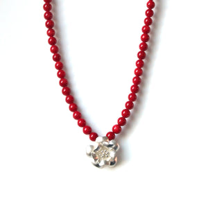 Australian Handmade Red Coral Bead Necklace Sterling Silver Flower Pendant