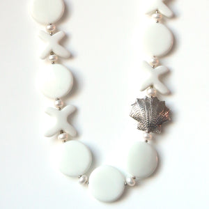 Australian Handmade White Agate and Pearl Necklace and Sterling Silver Shell