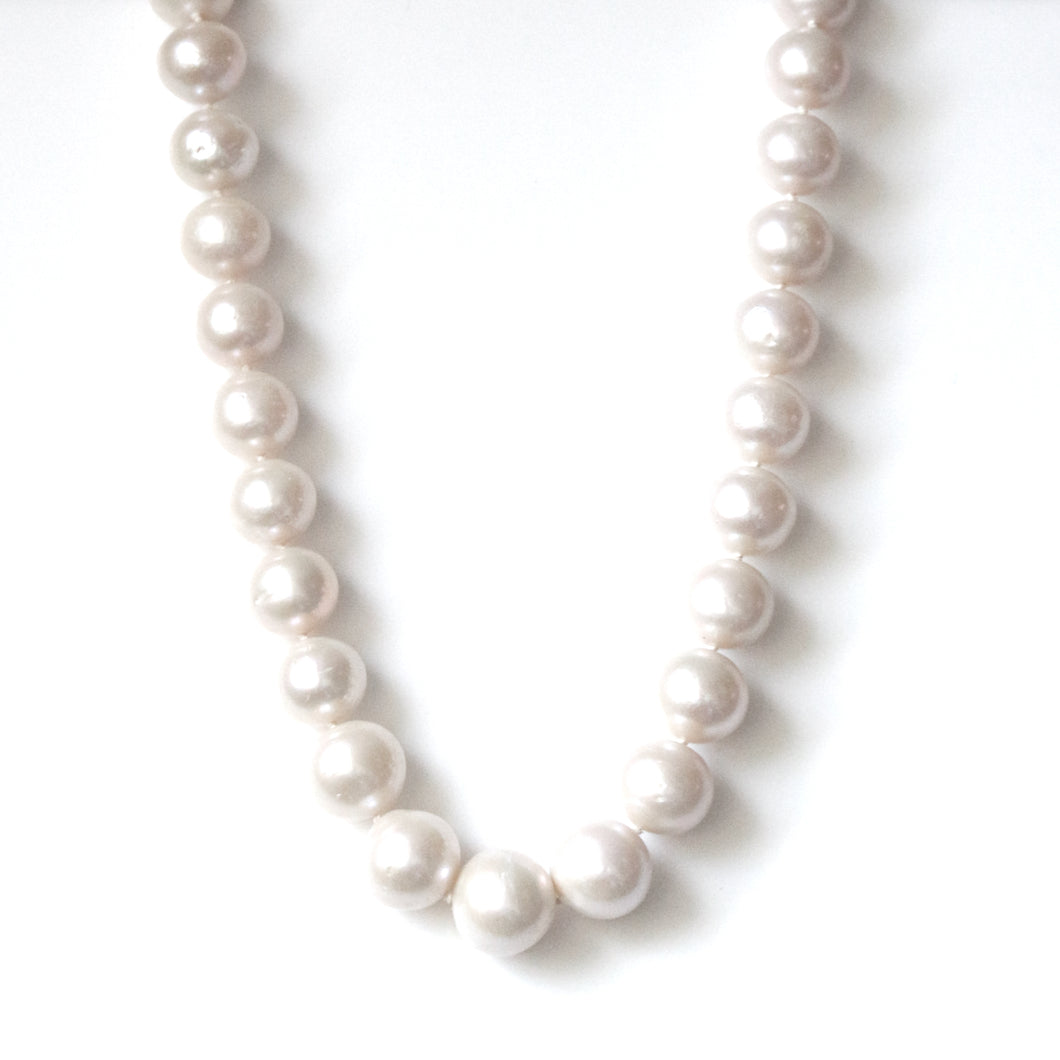 Australian Handmade White Freshwater Pearl Necklace with Sterling Silver Clasp