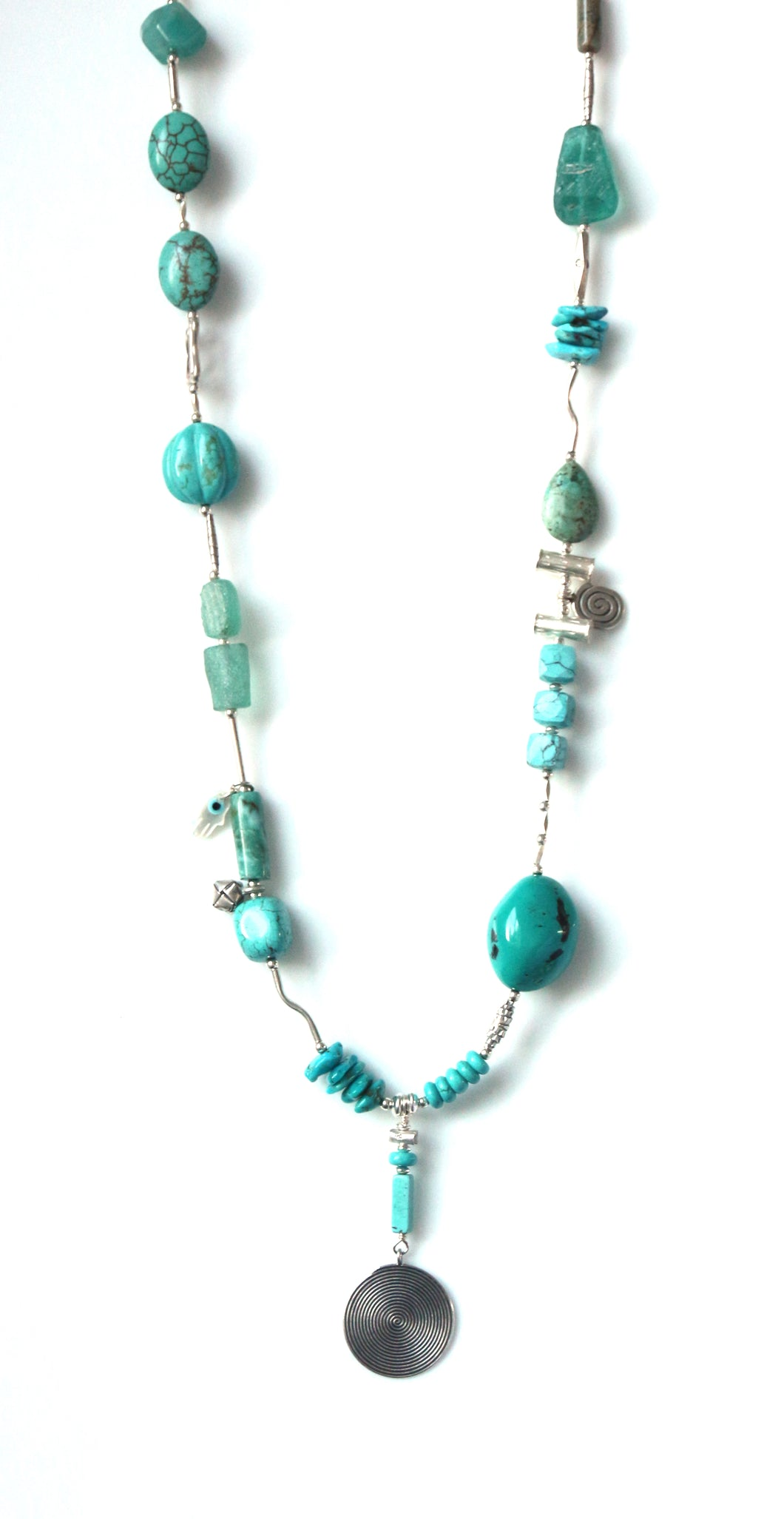 Australian Handmade Necklace with Turquoise Howlite Jasper and Roman Glass