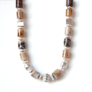 Australian Handmade Brown Agate Button Pearl and Feature Sterling Silver Necklace