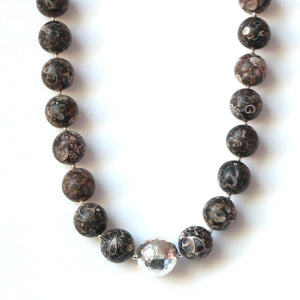 Australian Handmade Brown Matt Turritella Agate Necklace with feature Sterling Silver Centrepiece