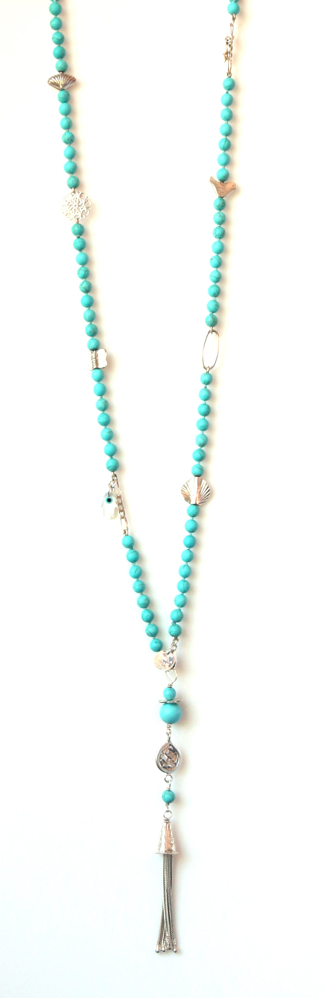 Australian Handmade Long Tassel Necklace with Howlite and Sterling Silver Charms