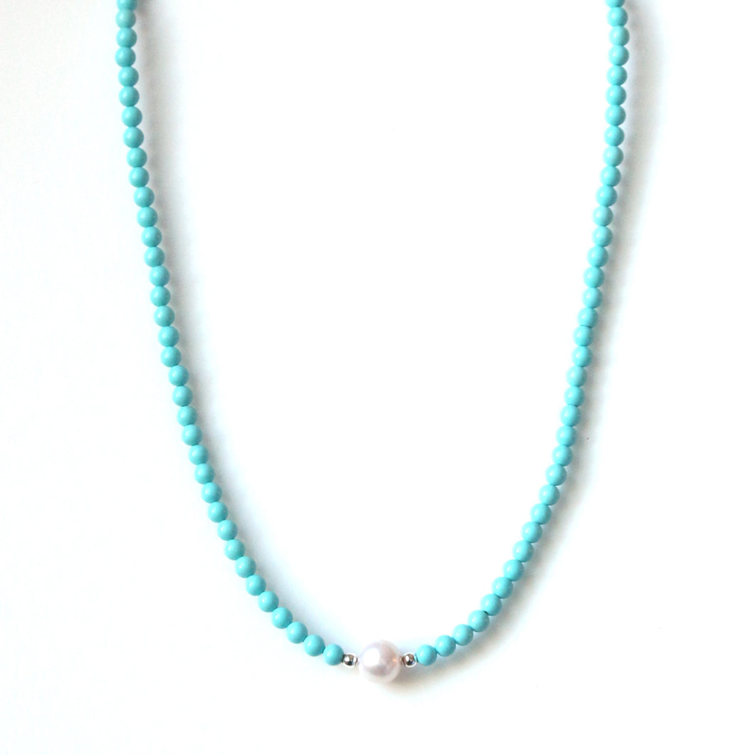 Australian Handmade Necklace with Howlite and Pearl Centrepiece
