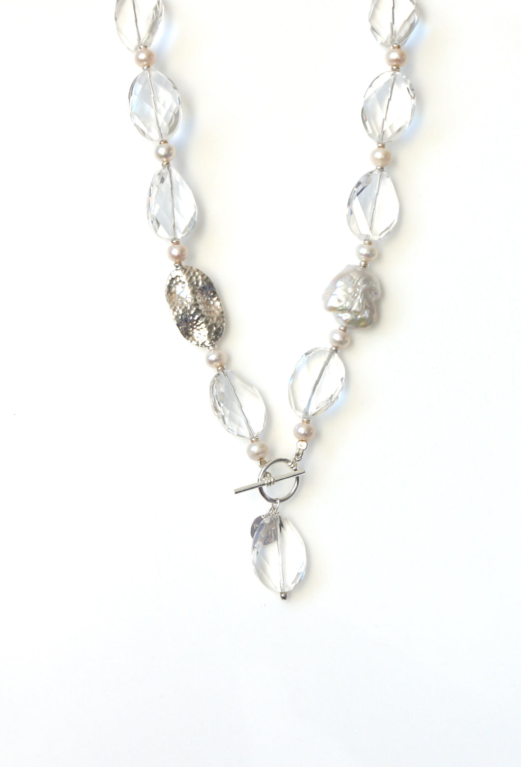 Australian Handmade Crystal Quartz Fob Necklace with Facetted Crystal Quartz Baroque Pearl Pearls and Sterling Silver