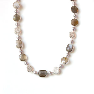Australian Handmade Grey Necklace with Pearls Agate and Moonstone set in Sterling Silver