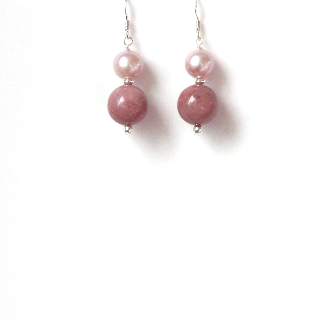 Pink Rhodonite Pink Natural Colour Pearl and Sterling Silver Earrings