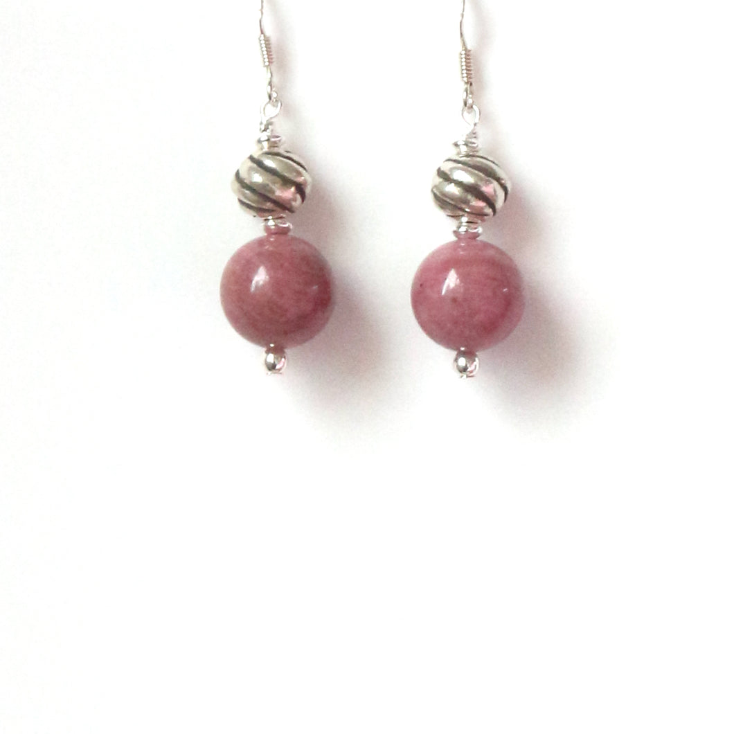 Pink Rhodonite with Twisted Sterling Silver Ball Earrings