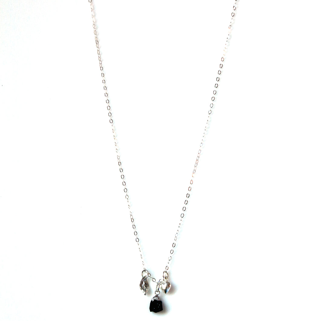 Sterling Silver Onyx and Charm Necklace