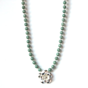 Australian Handmade Green Necklace with Burma Jade Beads and Sterling Silver Flower Pendant
