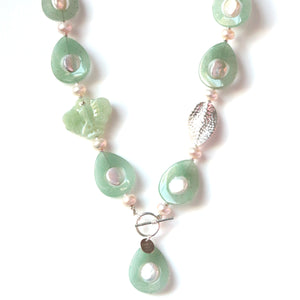 Australian Handmade Green Necklace with Jade Butterfly Button Pearls and Sterling Silver