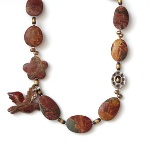 Australian Handmade Brown Necklace with Cherry Creek Jasper Brass Beads and Pearls