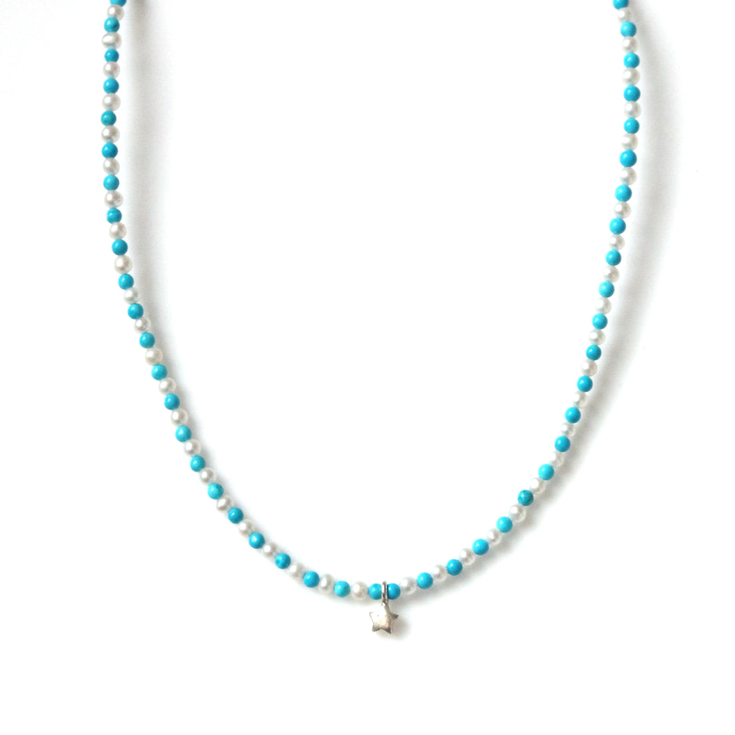 Australian Handmade Turquoise Choker Necklace with Pearls and Sterling Silver Star