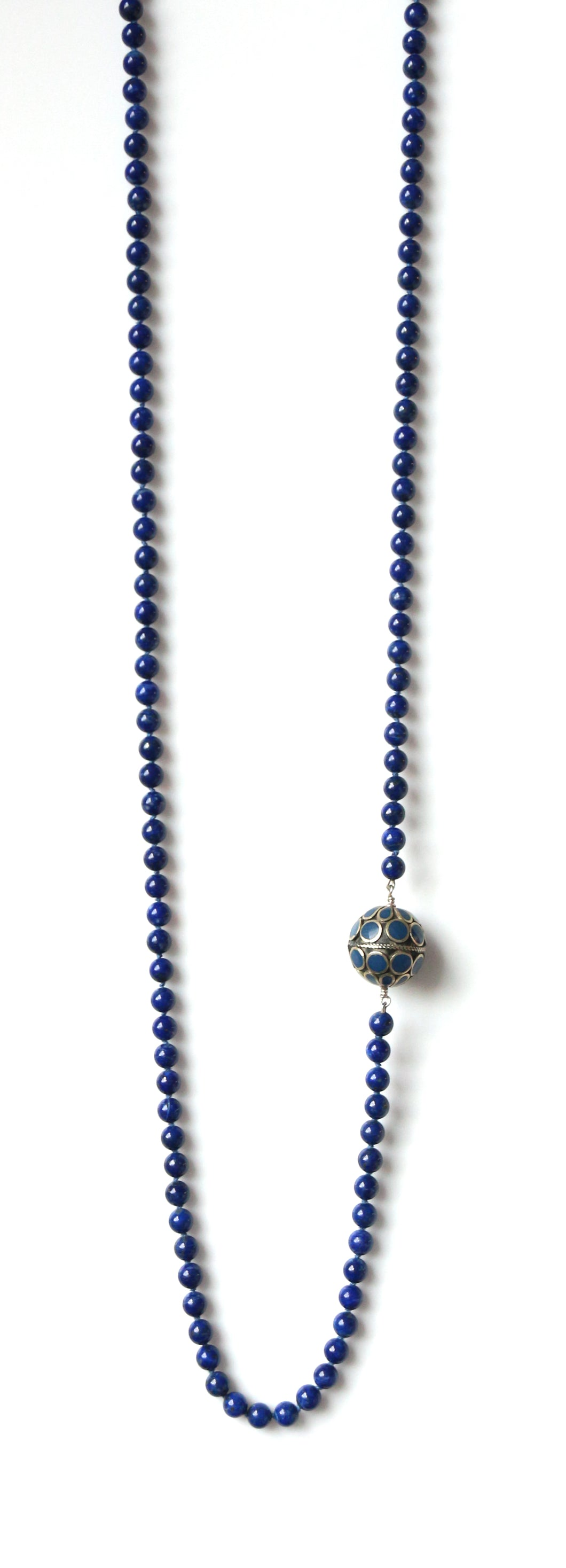 Australian Handmade Blue Long Necklace with Lapis Lazuli and Turkoman Bead Feature