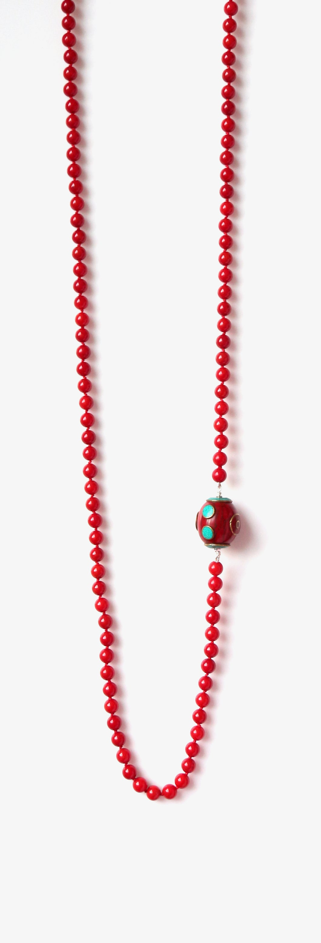 Australian Handmade Red Coral Long Necklace with Tibetan Bead Feature