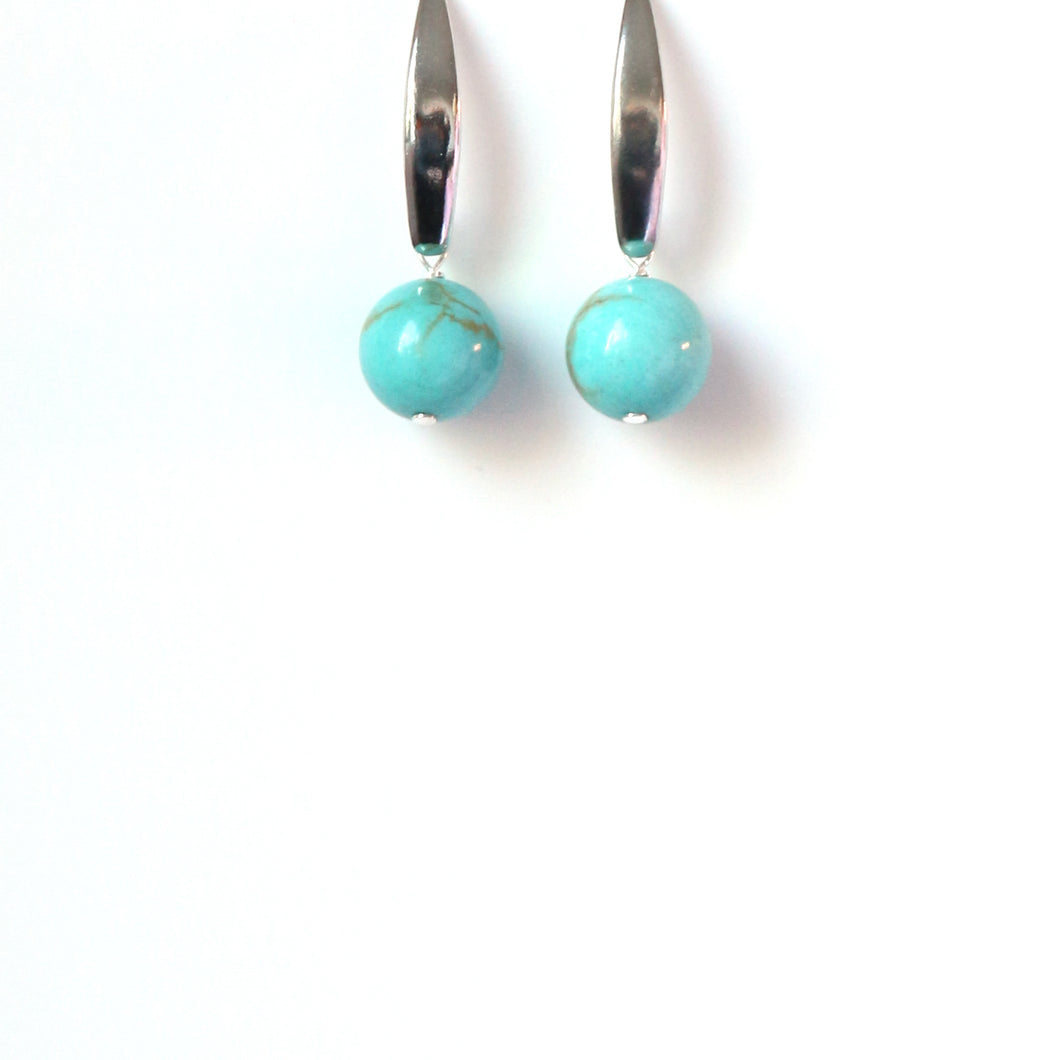 Turquoise Colour Howlite and Sterling Silver Earrings