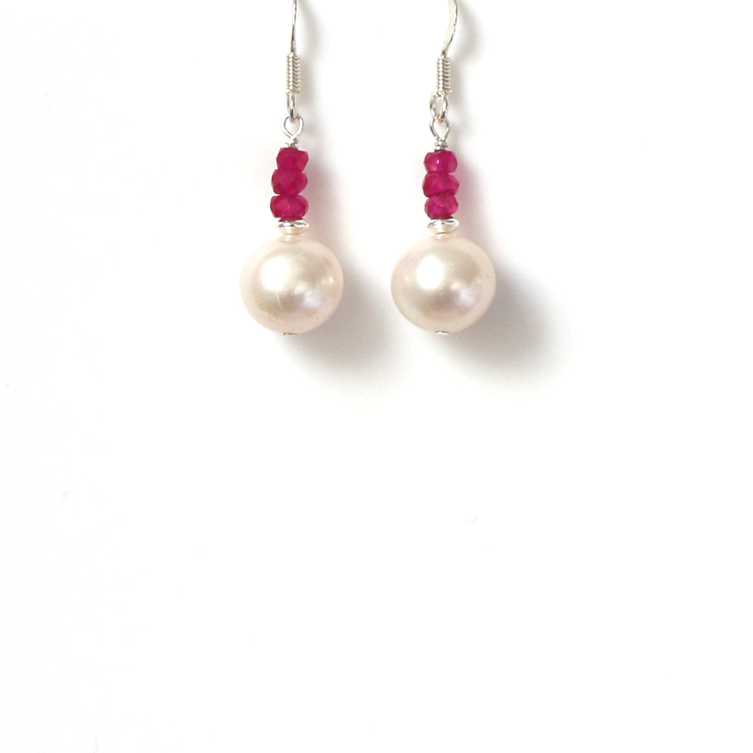 Freshwater Pearl Indian Ruby and Sterling Silver Earrings