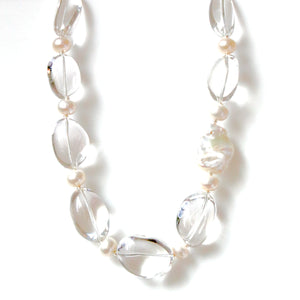 Australian Handmade Crystal Quartz Necklace with Pearls Baroque Pearl and Sterling Silver