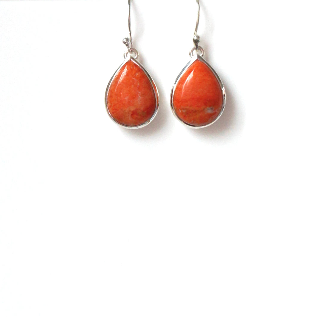 Red Sponge Coral Earrings set in Sterling Silver