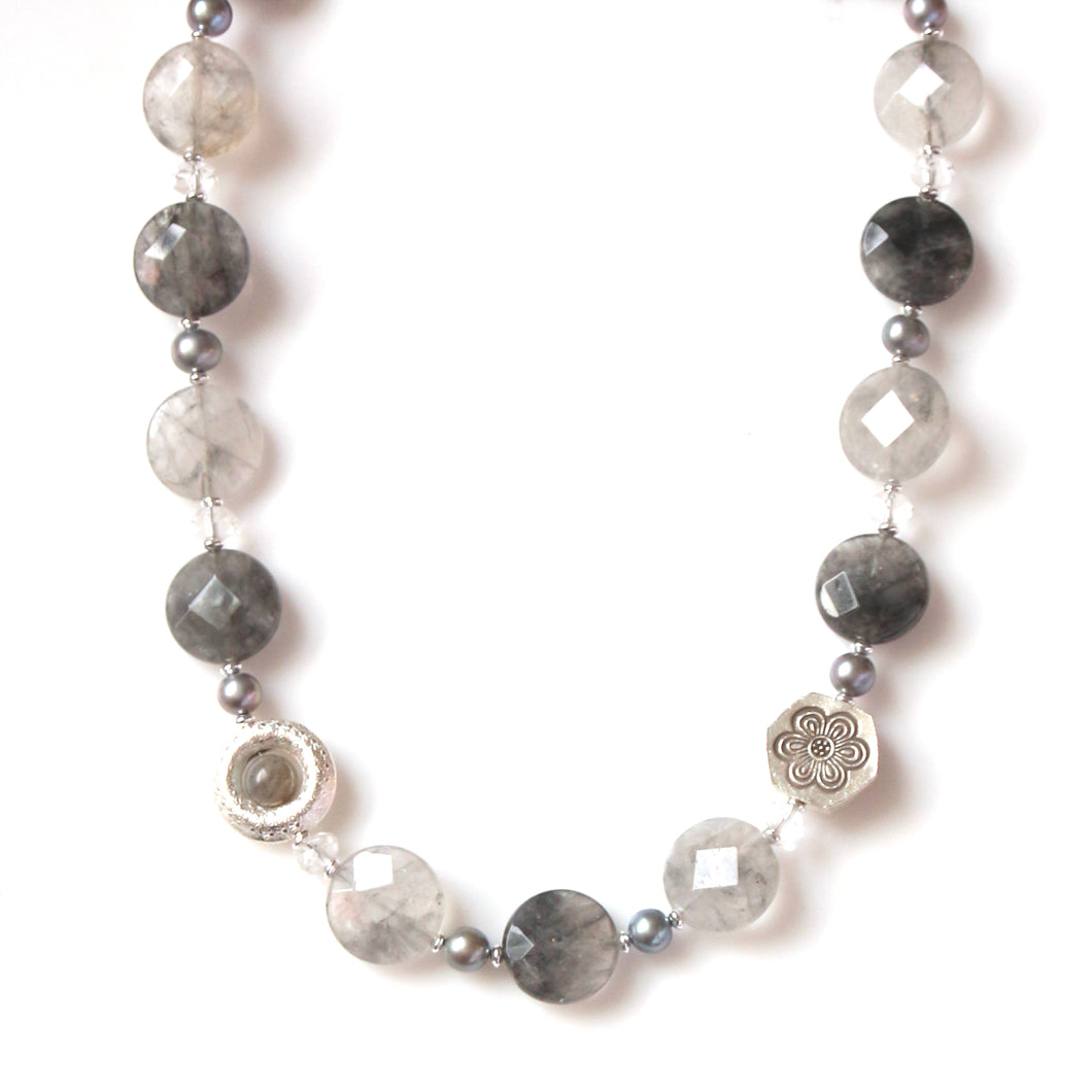 Australian Handmade Grey Necklace with Grey Rutile Quartz and Sterling Silver