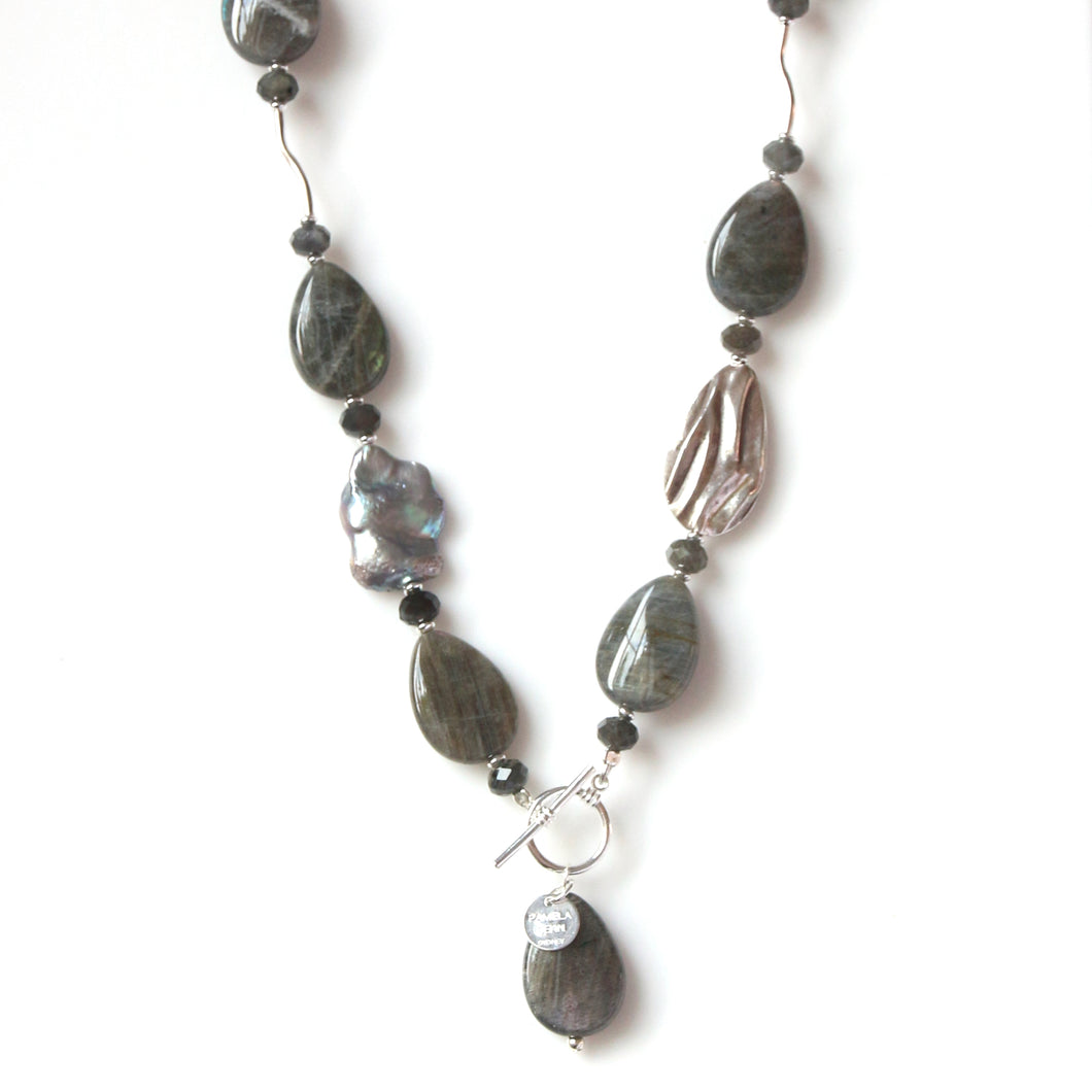 Australian Handmade Grey Fob Necklace with Labradorite and Sterling Silver