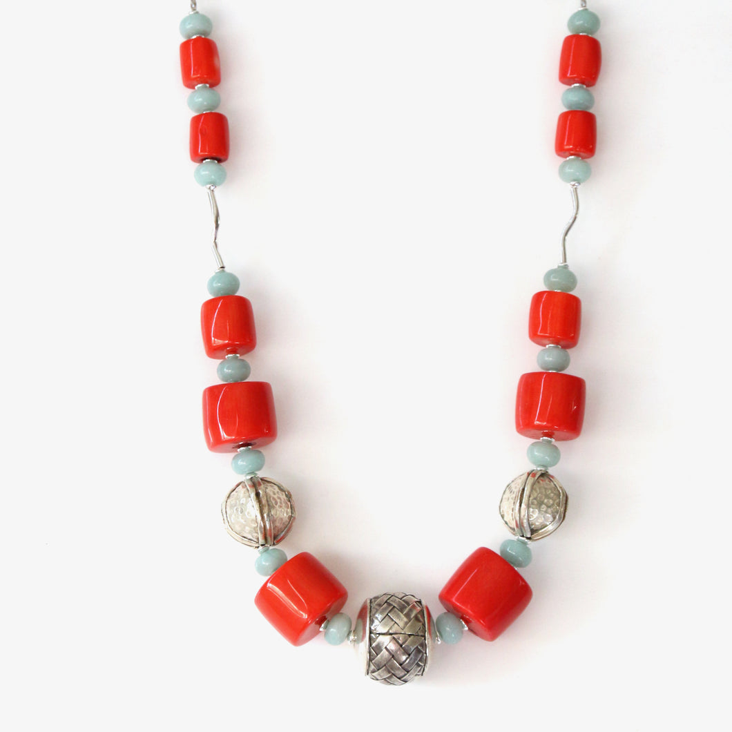 Australian Handmade Orange Necklace with Coral Amazonite and Sterling Silver