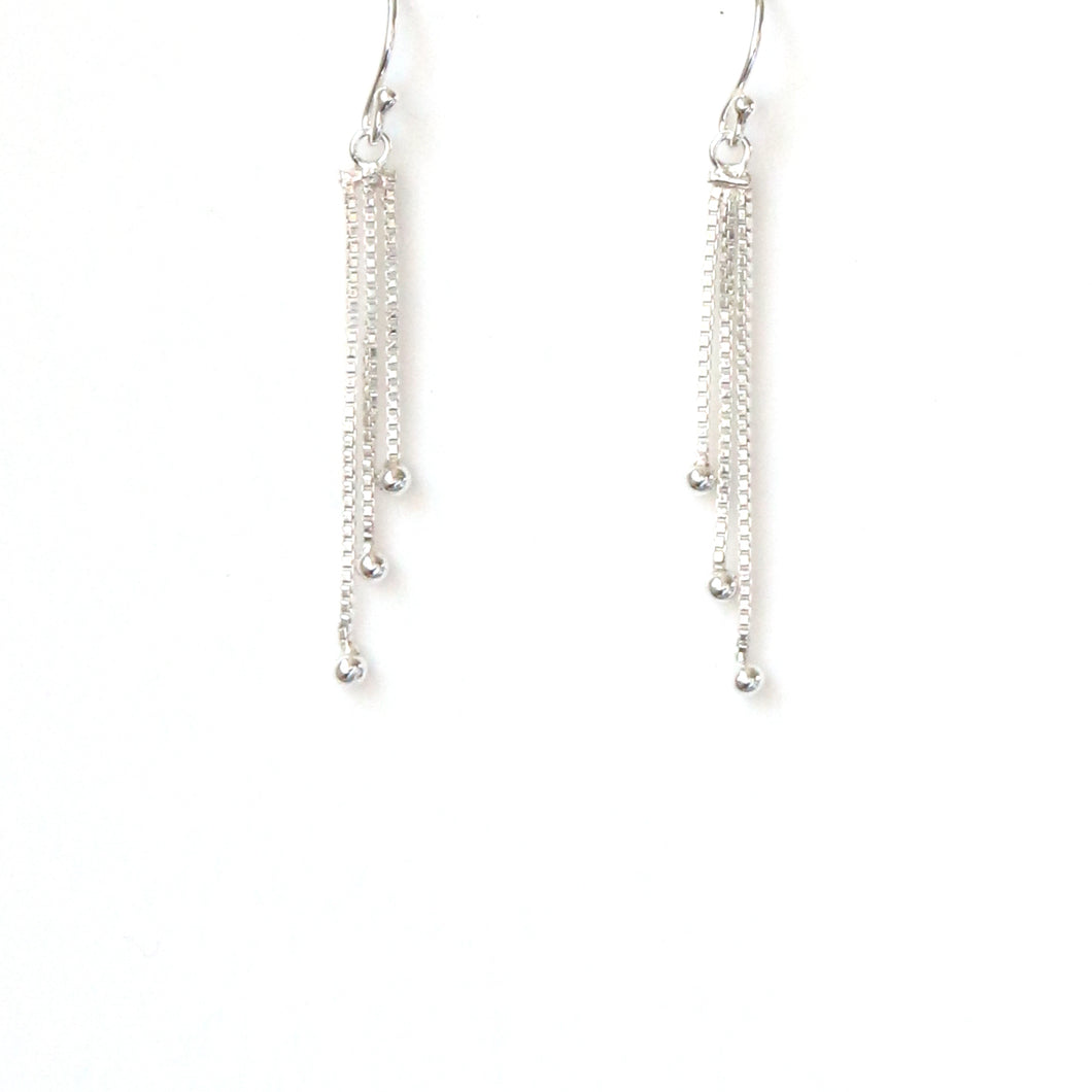 Sterling Silver Earrings Triple Box Chain