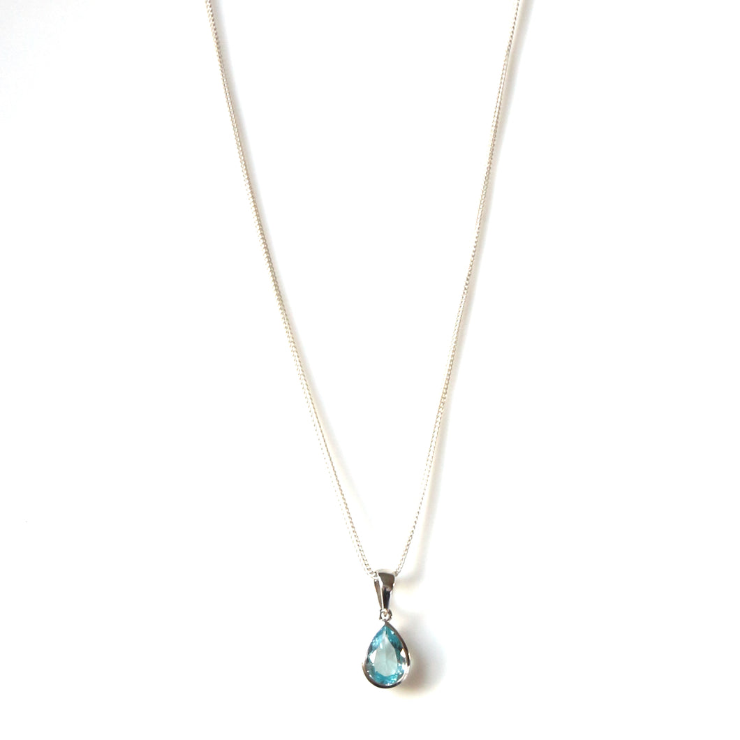 Sterling Silver Chain Necklace with Teardrop Shape Blue Topaz Pendant set in Sterling Silver