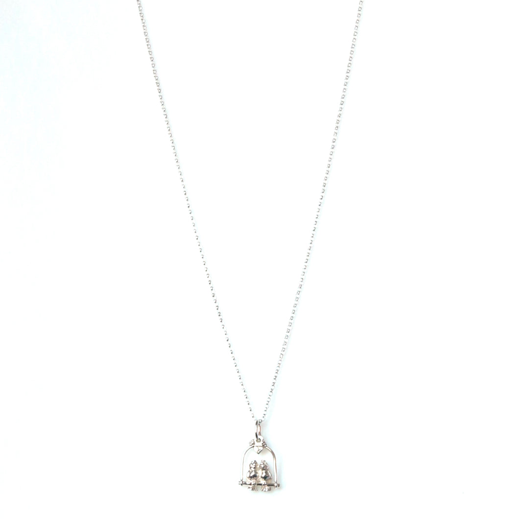 Sterling Silver Chain Necklace with Lovebirds Charm