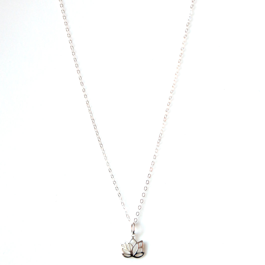 Sterling Silver Chain Necklace with Lotus Flower