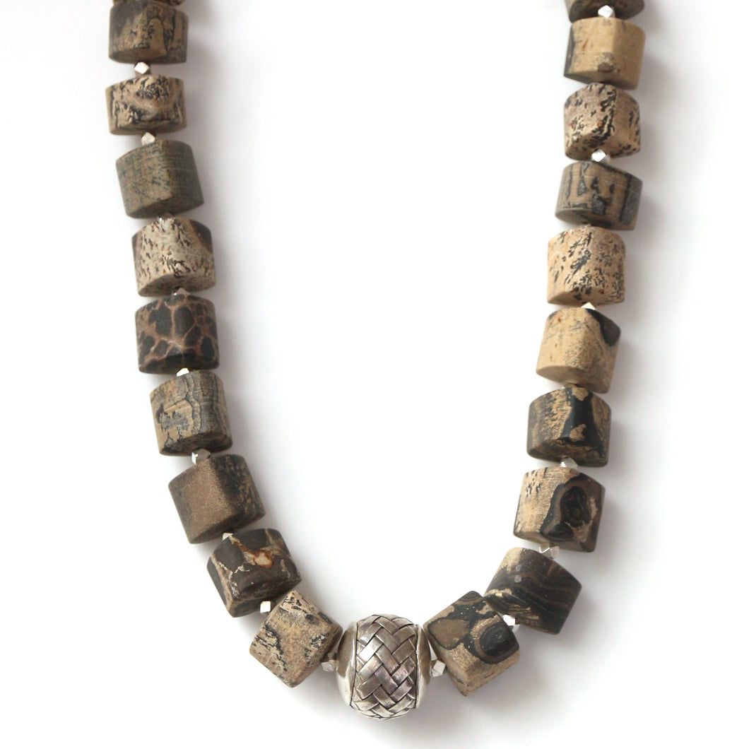 Australian Handmade Brown Necklace with Variegated Jasper and Sterling Silver Centrepiece