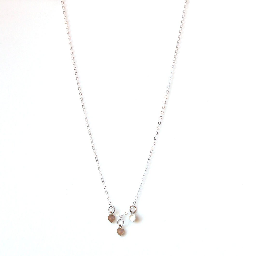 Sterling Silver Necklace with Mother of Pearl Sterling Silver Hearts