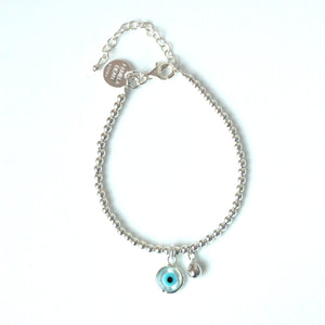 Sterling Silver Bracelet with Evil Eye and Sterling Silver Charm