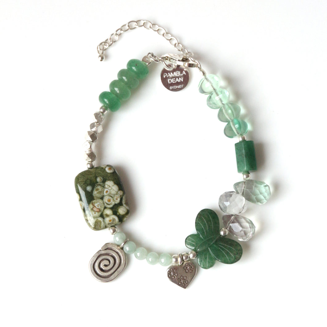 Green Bracelet with Aventurine Gemstones and Sterling Silver