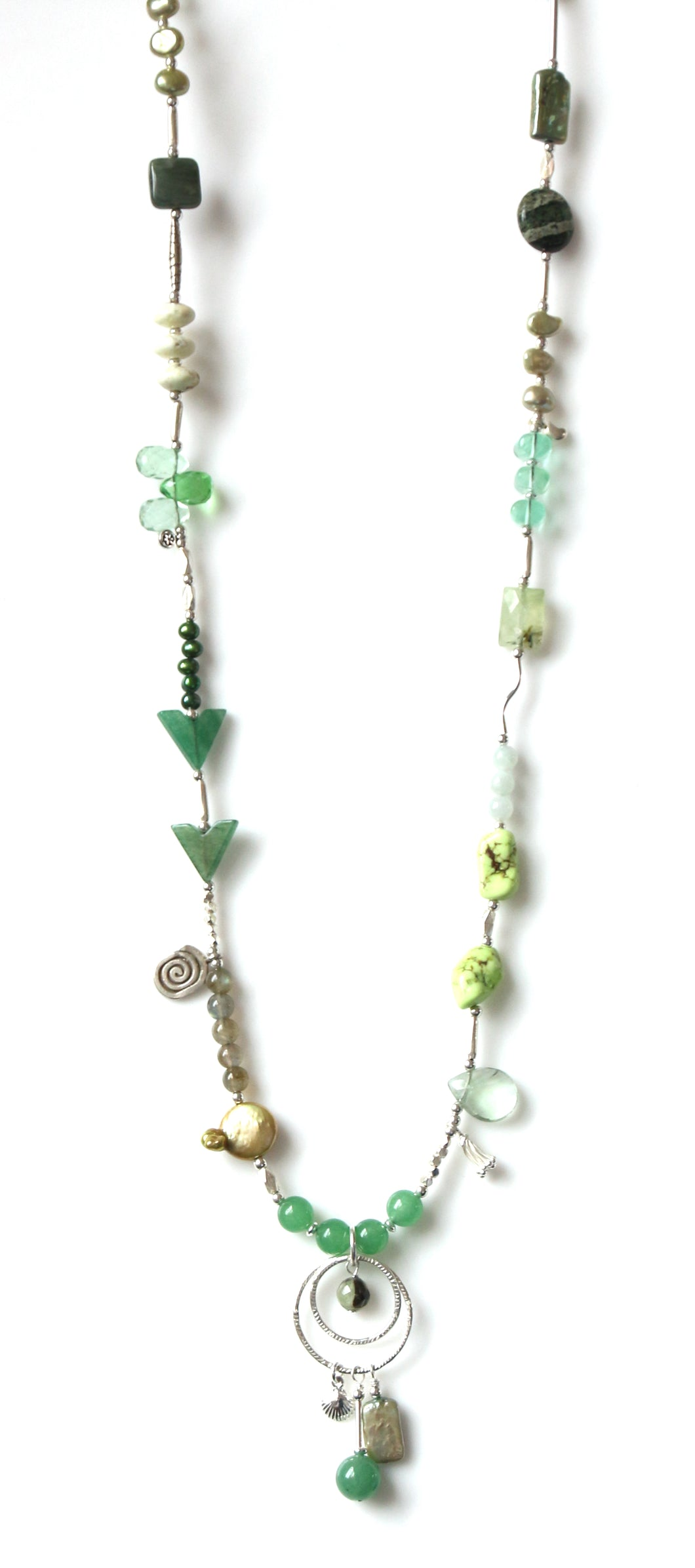 Australian Green Necklace with Pearls Aventurine Fluorite and Sterling Silver