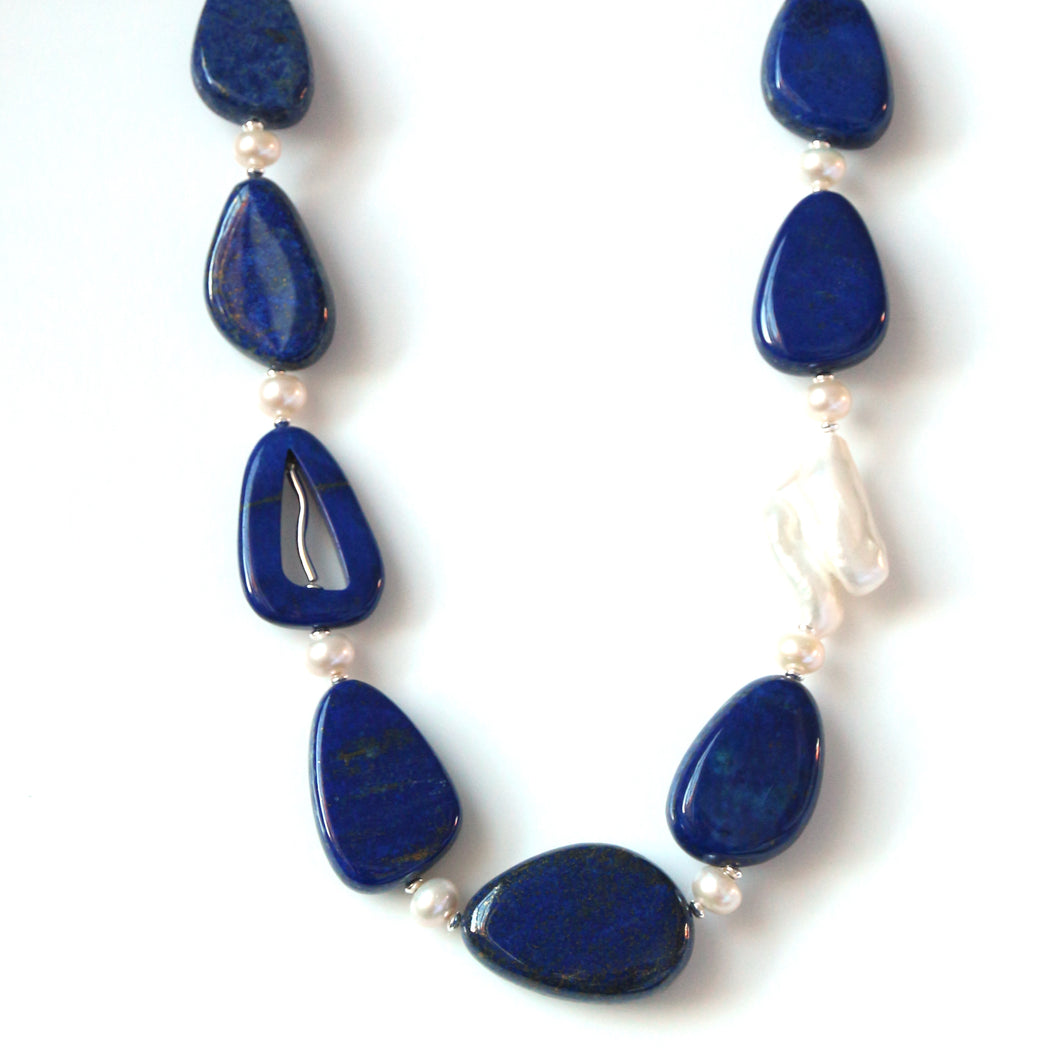 Australian Handmade Blue Necklace with Lapis Lazuli Baroque Pearl Pearls and Sterling Silver