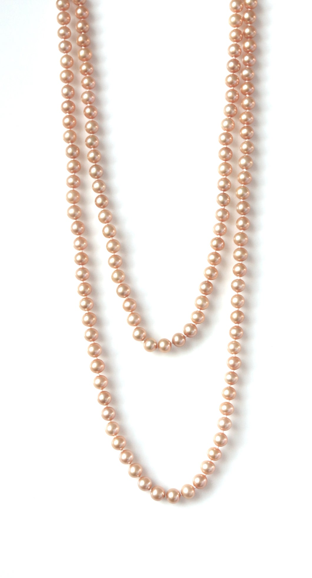 Australian Handmade Necklace with Pink/Peach Coloured Pearls