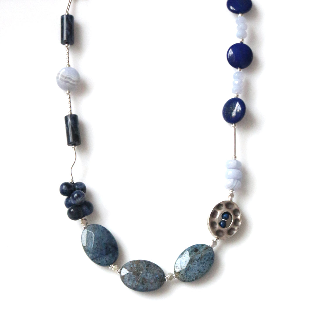 Australian Handmade Blue Necklace with Lapis Lazuli Dumotierite Blue Lace Agate and Sterling Silver